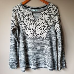 Maurices   Gray Floral Lace Embellished Sweater